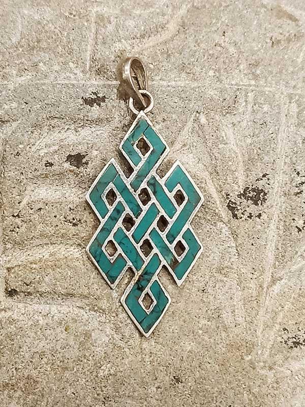 pendente tibetano argento turchese con Nodo infinito