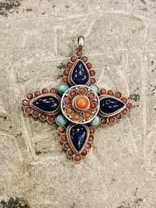 pendente tibetano lapislazzuli turchese corallo