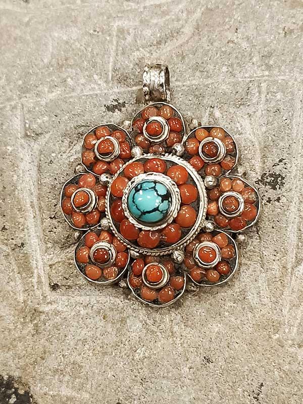 pendente tibetano argento turchese corallo