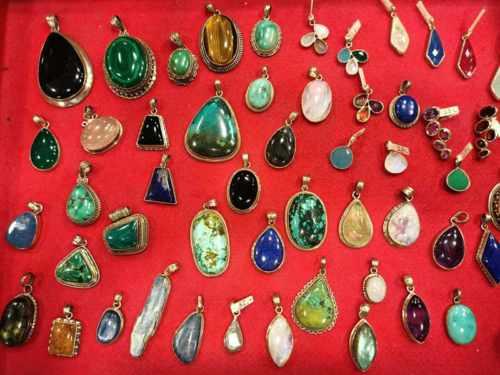 Pendenti in argento 925 con pietre dure e preziose